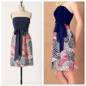 Anthropologie Odille Red White and Blue Dress